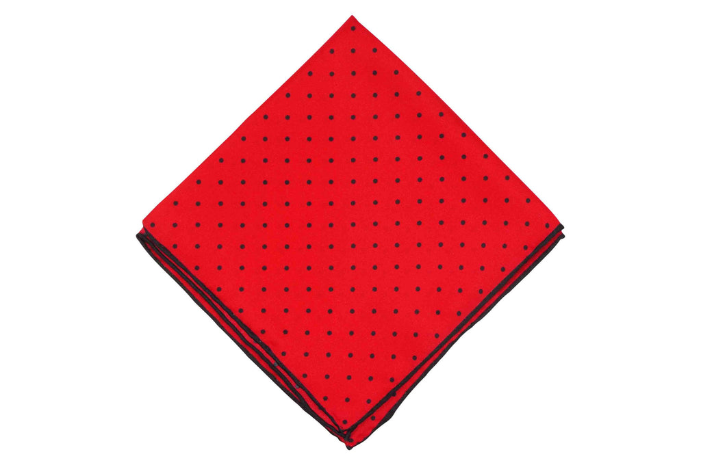 Red Dotted Silk Pocket Square