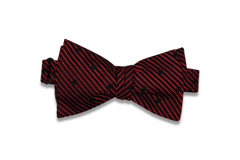 Red Dotted Stripes Silk Bow Tie (Self-Tie)