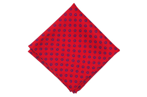 Red Fade Circles Wool Pocket Square