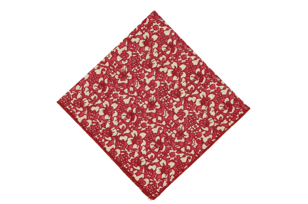 Red Flowers Cotton Pocket Square