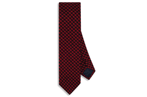 Red Houndstooth Wool Skinny Tie