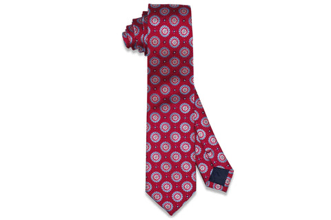 Red Medallion Flowers Silk Skinny Tie