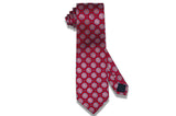 Red Medallion Flowers Silk Tie