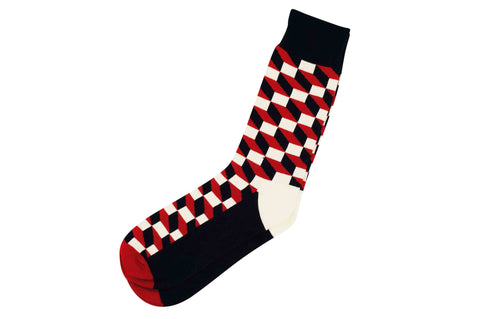Red White Blocks Men's Socks
