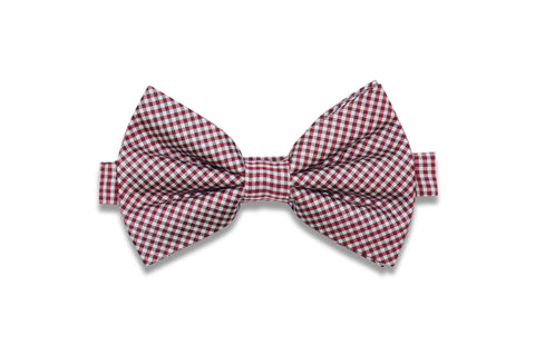 Red White Gingham Silk Bow Tie (pre-tied)