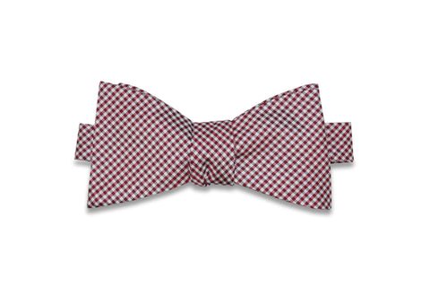 Red White Gingham Silk Bow Tie (self-tie)