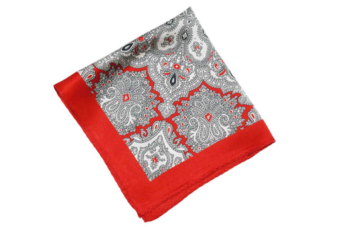 Red White Paisley Silk Pocket Square