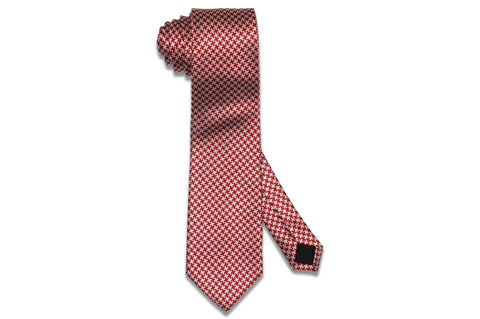 Red White Silk Tie