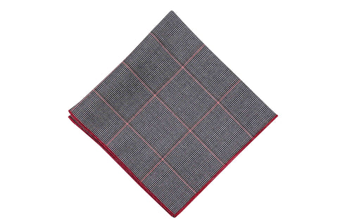 Red Windowpane Cotton Pocket Square
