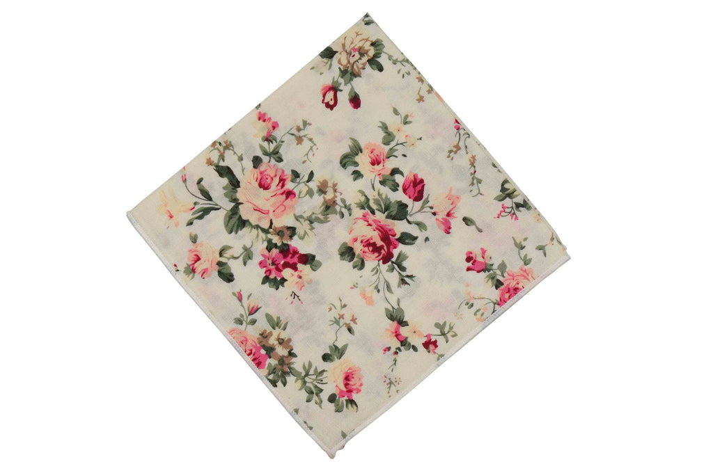 Rose Cream Floral Cotton Pocket Square