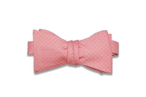 Salmon Pin Dots Silk Bow Tie (Self-Tie)