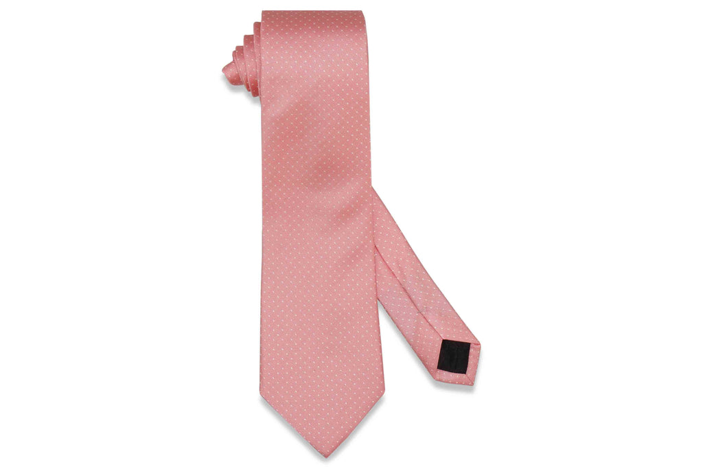 Salmon Pin Dots Silk Tie