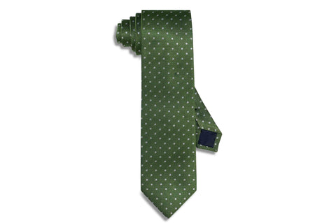 Silver Dotted Green Silk Tie