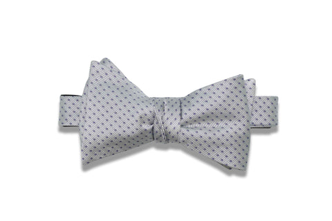 Silver Mini Dots Silk Bow Tie (self-tie)