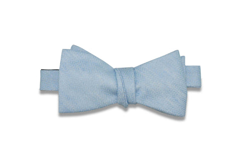 Sky Blue Waves Linen Bow Tie (Self-Tie)