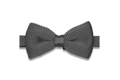 Solid Gray Knitted Bow Tie (pre-tied)