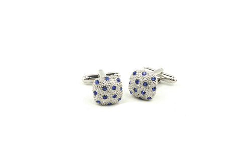Square Blue Crystals Cufflinks