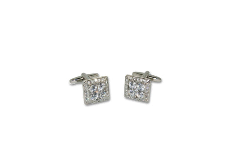 Square Round Crystal Cufflinks