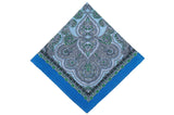 State Blue Cotton Pocket Square