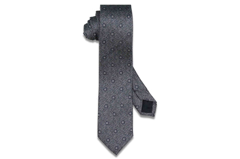 Static Charcoal Silk Skinny Tie
