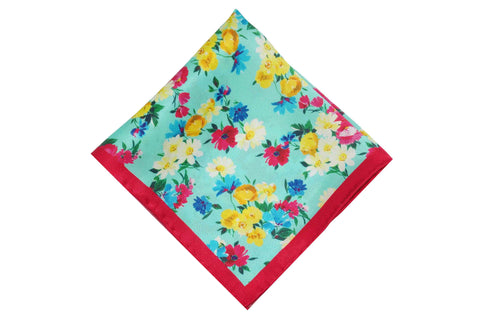 Summer Floral Silk Pocket Square