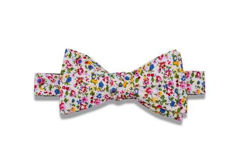 Summer Flowers Cotton Bow Tie (pre-tied)