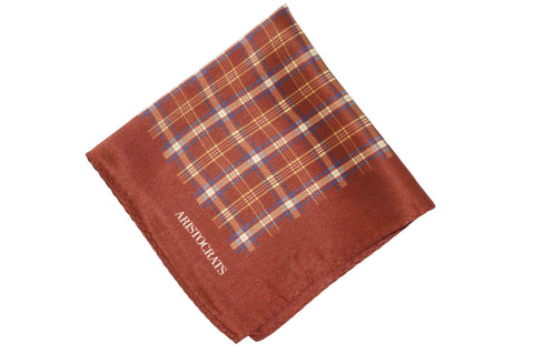 Tartan Brown Silk Pocket Square