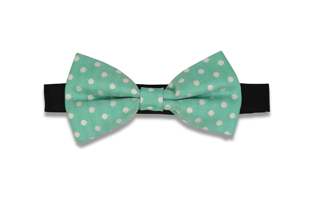 Teal Dotted Bow Tie (PRE-TIED)
