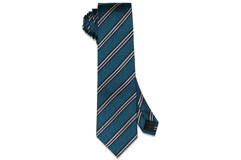 Teal Double Stripes Silk Tie