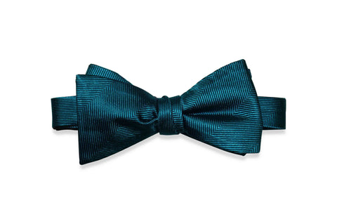 Teal Herringbone Silk Bow Tie (Self-Tie)