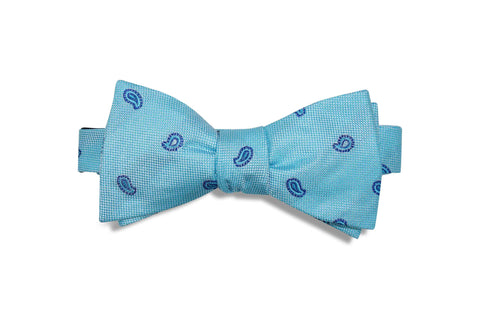 Teal Paisley Silk Bow Tie (self-tie)