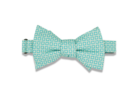 Teal Squared Circles Cotton Bow Tie (self-tie)