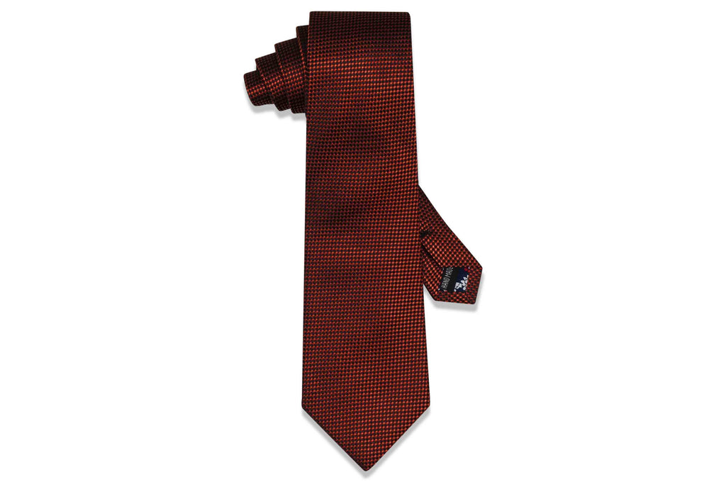 Text Orange Silk Tie