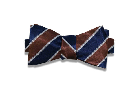 Thick Brown Stripes Silk Bow Tie (self-tie)