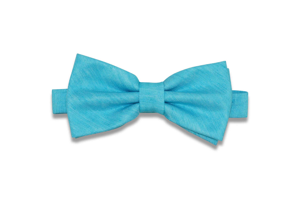 Tiffany Blue Textured Linen Bow Tie (Pre-Tied)