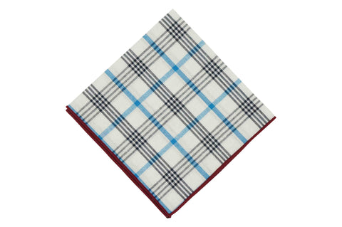 Triple Plaid Cotton Pocket Square