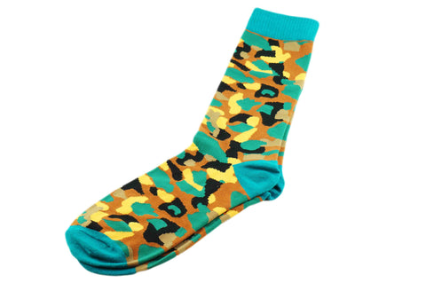 Turquoise Brown Camo Men's Socks
