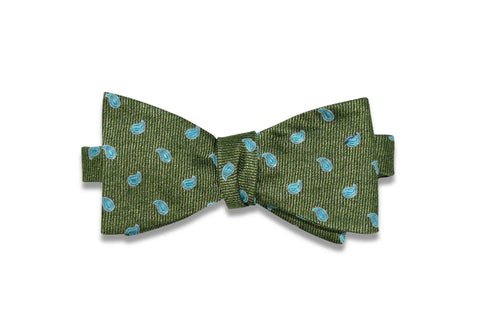 Turquoise Green Paisley Silk Bow Tie (self-tie)