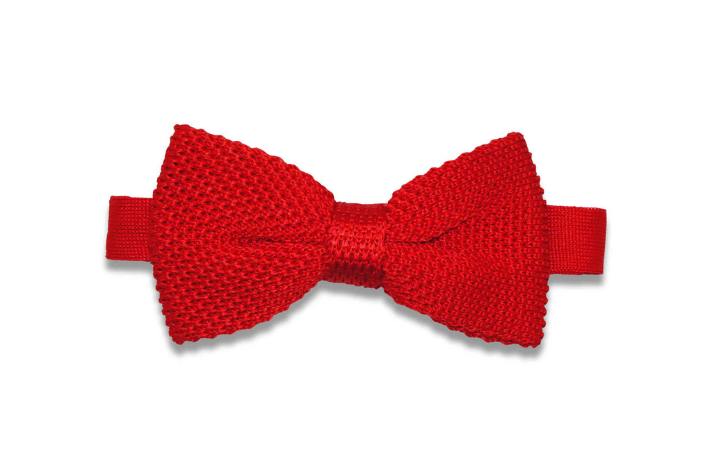 Valentine Red Knitted Bow Tie (pre-tied)