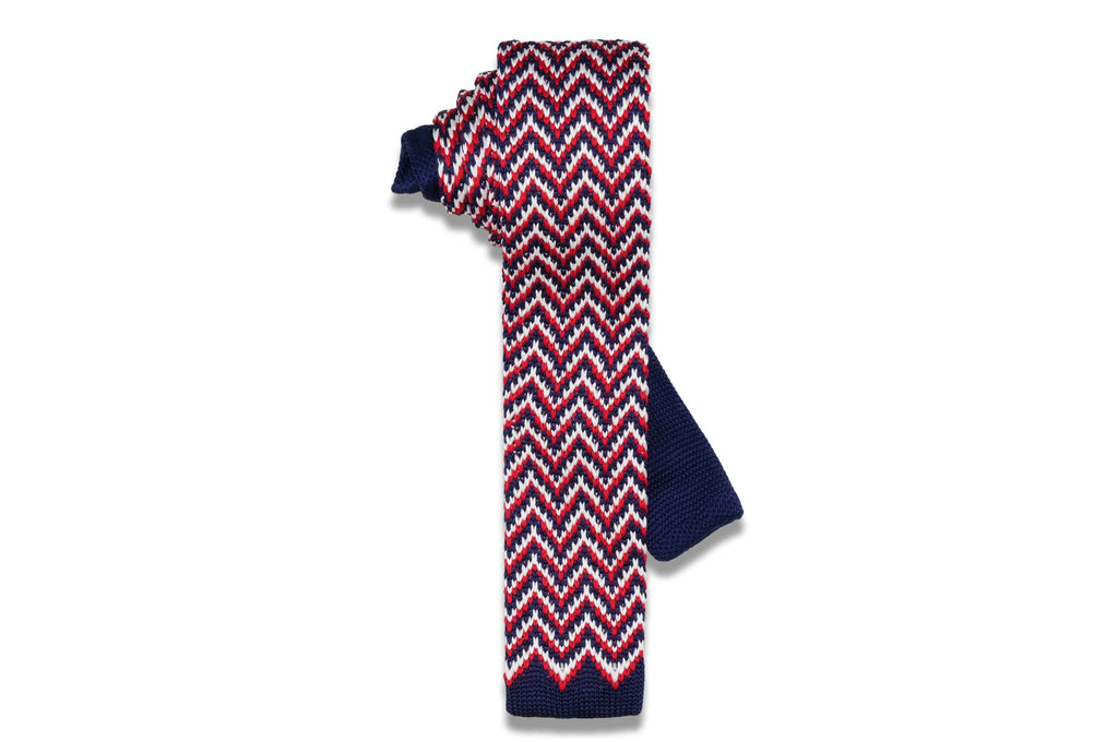 Volatile Red & Blue Knitted Skinny Tie