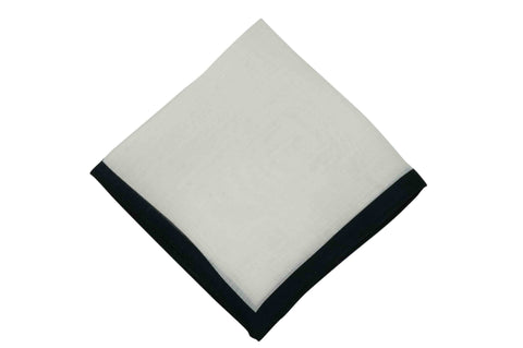 White Black Border Linen Pocket Square