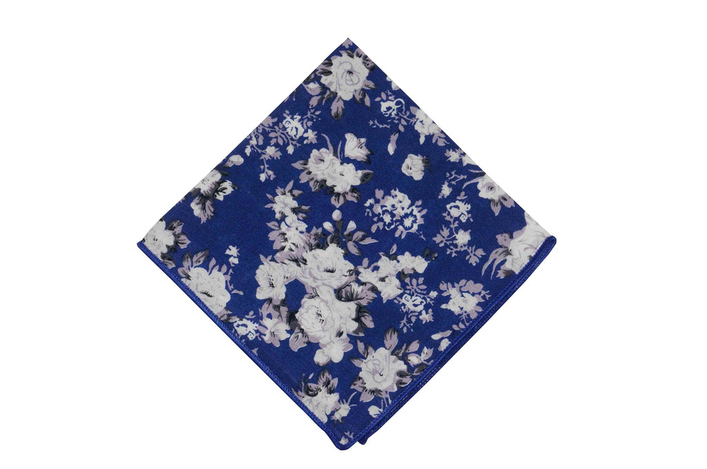 White Blue Floral Cotton Pocket Square