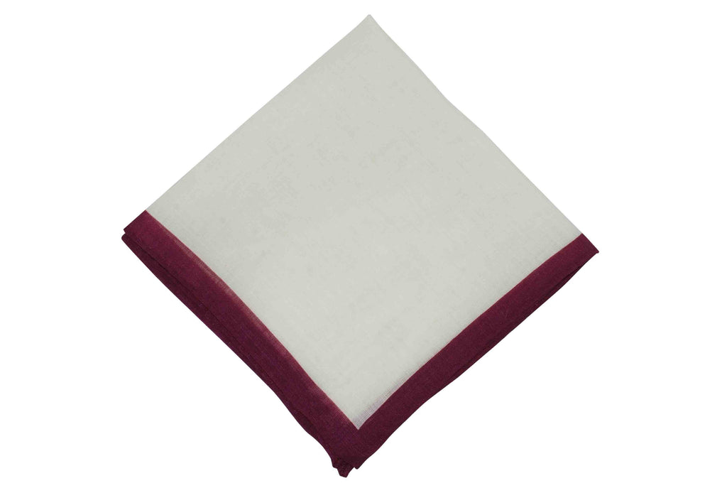 White Burgundy Border Linen Pocket Square