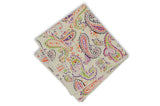 White Colourful Paisley Cotton Pocket Square