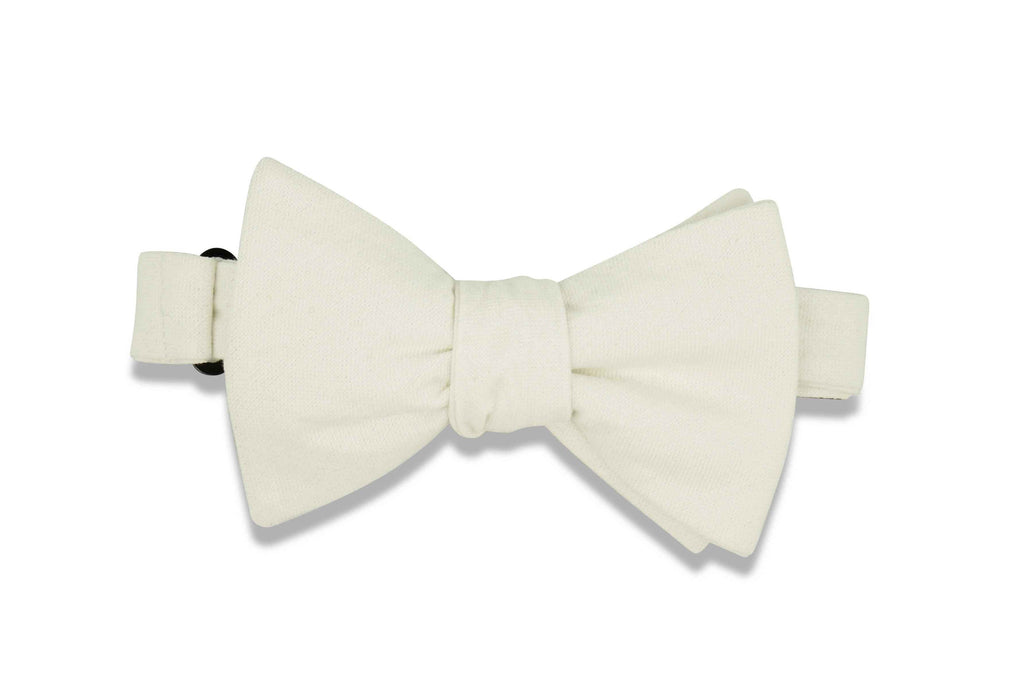 Solid White Cotton Bow Tie (self-tie)