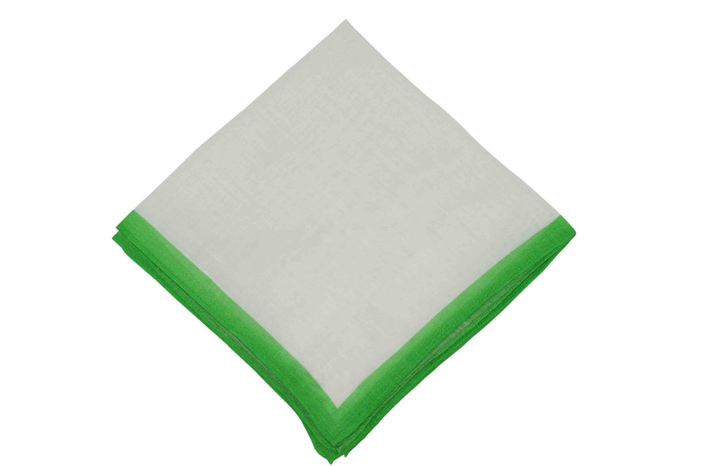 White Green Border Linen Pocket Square
