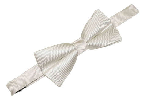 White Herringbone Silk Bow Tie (Boys)