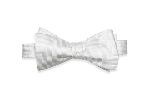 White Herringbone Silk Bow Tie (Self-Tie)