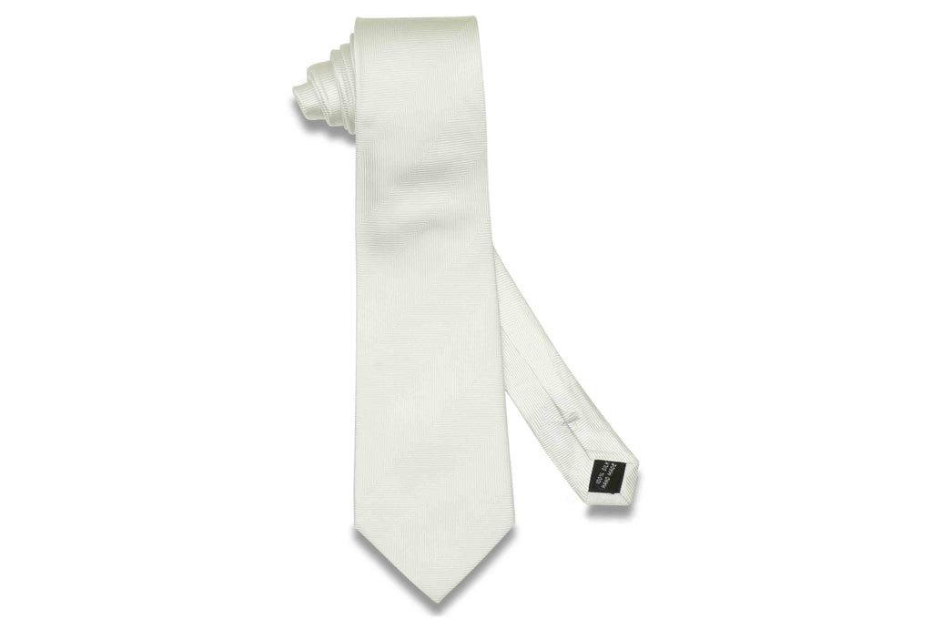 White Herringbone Silk Tie