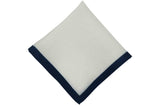 White Navy Border Linen Pocket Square